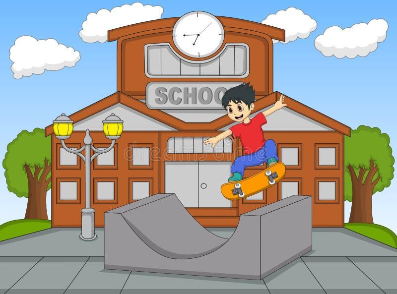 Weinig jongen het spelen skateboard bij de vectorillustratie van het schoolbeeldverhaal royalty-vrije illustratie