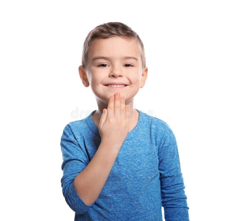 Weinig jongen het tonen DANKT U gebaar in gebarentaal royalty-vrije stock afbeeldingen