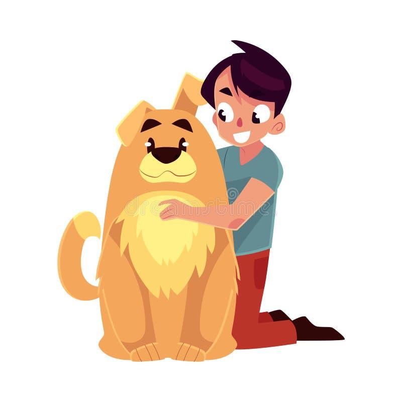 Weinig jongen, kind, jong geitje met grote pluizige bruine hondvriend, metgezel royalty-vrije illustratie