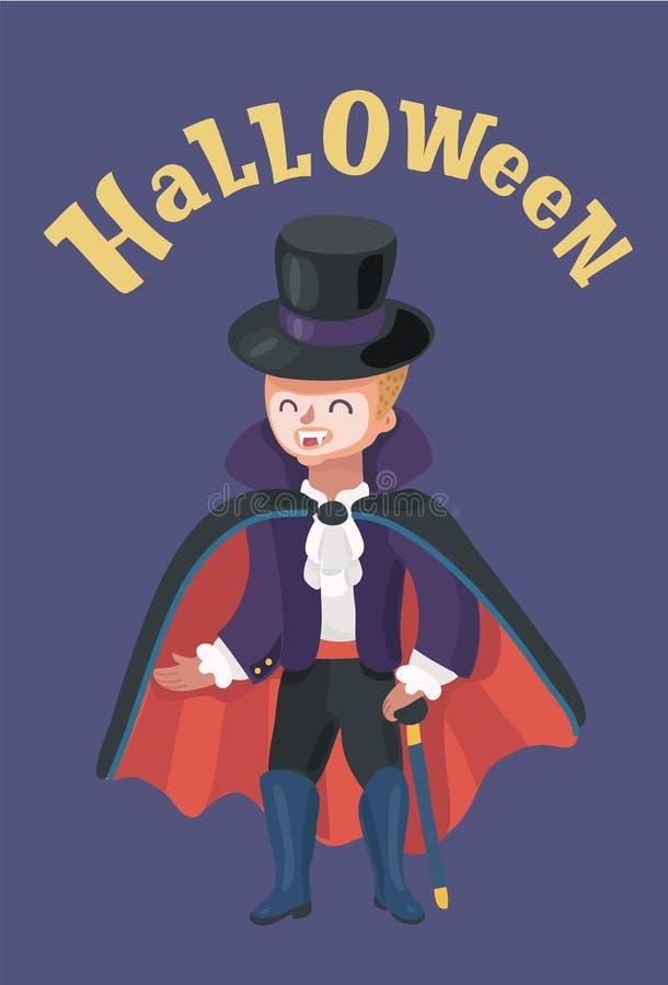 Weinig jongen kleedde zich omhoog als vampier Halloween vector illustratie