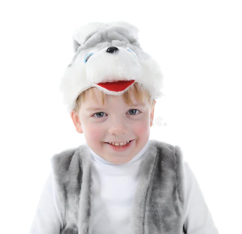 Weinig jongen in kostuumshazen stock fotografie