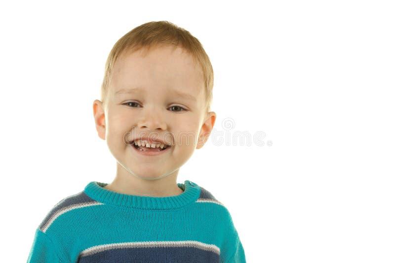 Weinig jongen lacht royalty-vrije stock afbeelding