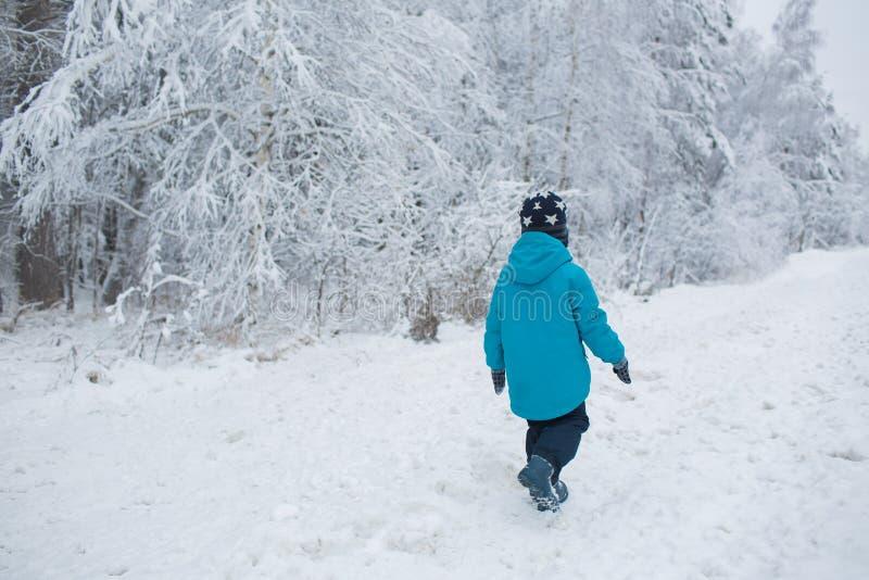 Weinig jongen loopt in een sneeuw in de winter Achter mening stock fotografie