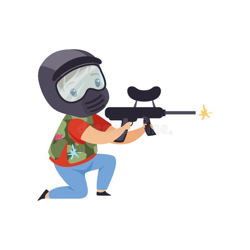 Weinig jongen masker dragen en vest die met kanon streven, paintball speler vectorillustratie op een witte achtergrond royalty-vrije illustratie