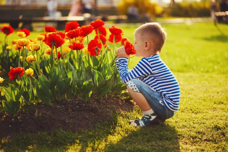 Weinig jongen met bloemen royalty-vrije stock afbeeldingen