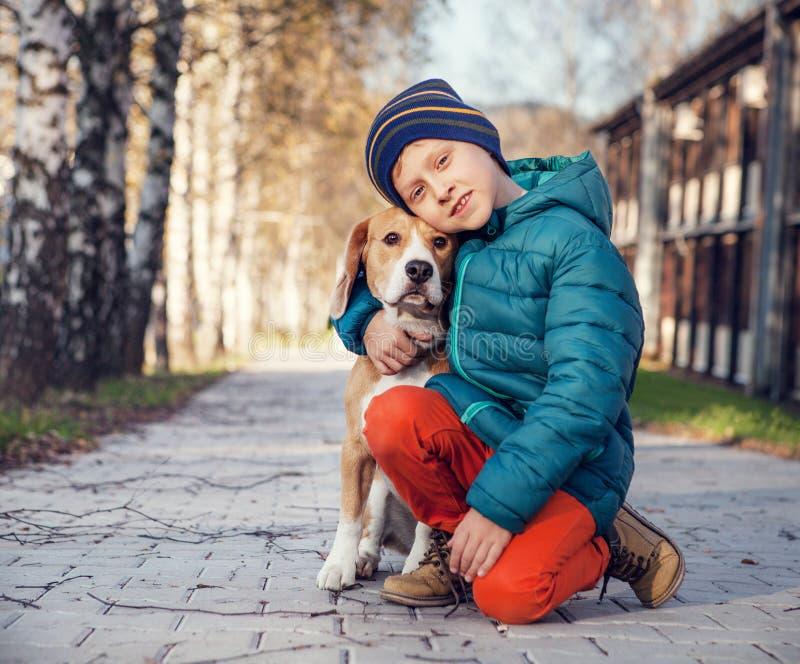 Weinig jongen met brak op de de herfststraat stock fotografie