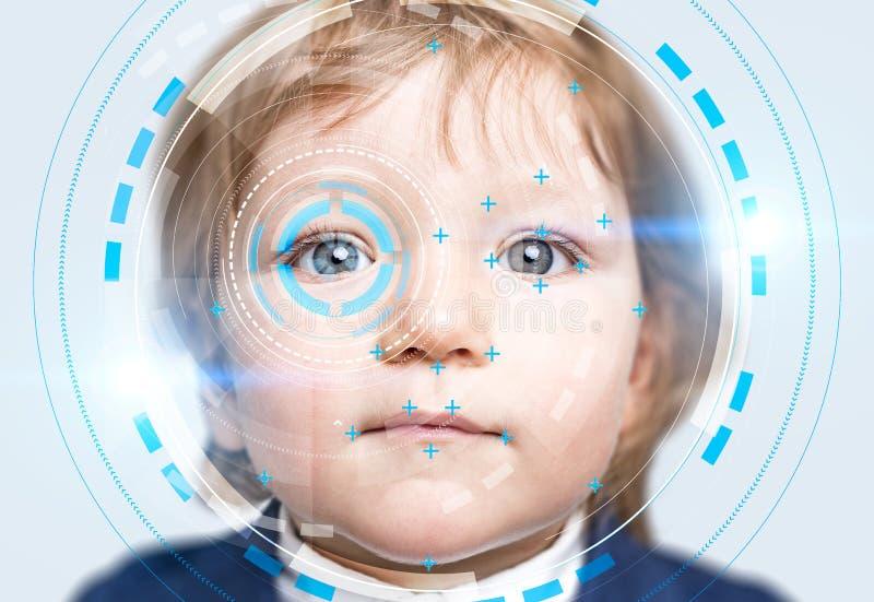 Weinig jongen met de interface van de gezichtserkenning royalty-vrije stock foto's