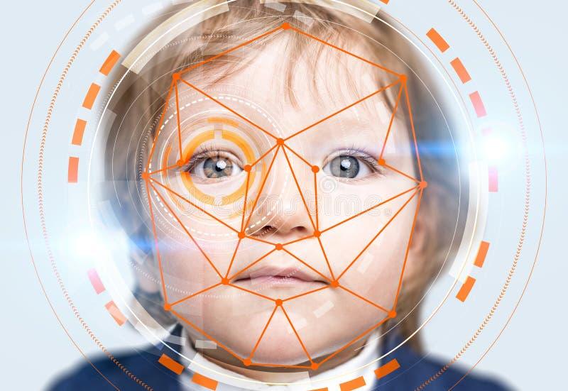 Weinig jongen met de oranje interface van de gezichtserkenning stock afbeelding