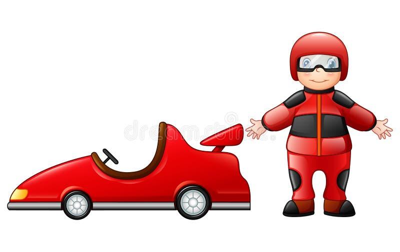 Weinig jongen met een rode raceauto vector illustratie