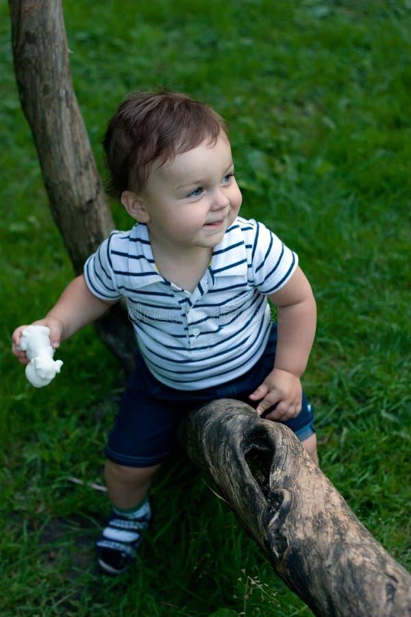 Weinig jongen met een stuk speelgoed in handen die op de boom liggen stock foto's