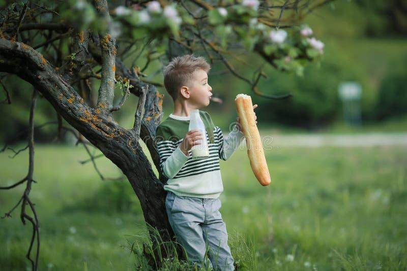 Weinig jongen met meisje drinkt melk en eet een brood van brood op een hooiberg in een dorp bij zonsondergang royalty-vrije stock fotografie