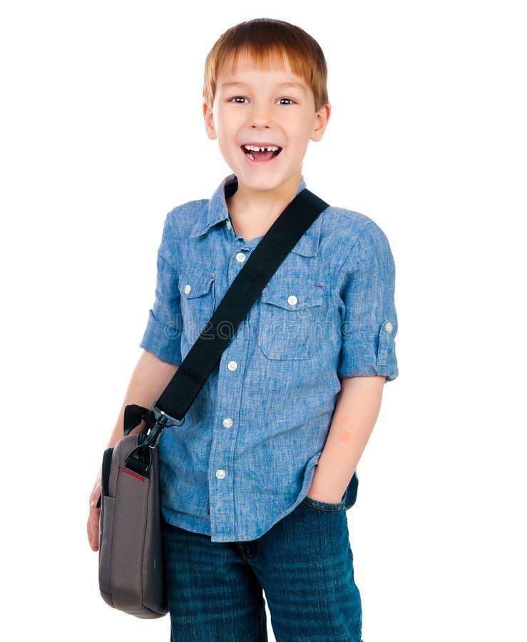 Weinig jongen met zak royalty-vrije stock foto's