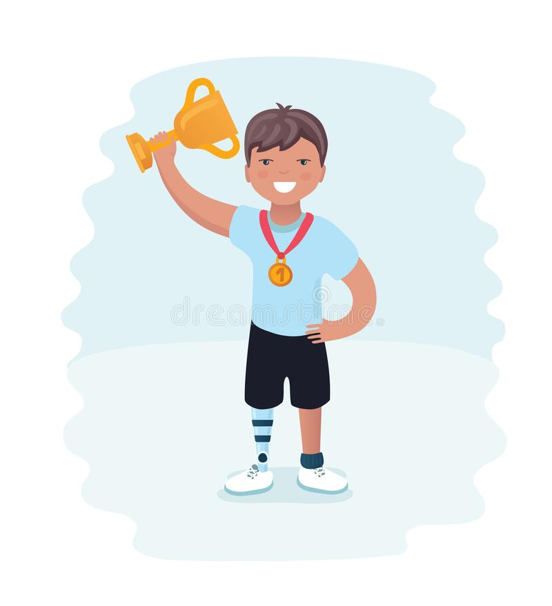 Weinig jongen op prothesen De jonge agent maakte atleet op een witte achtergrond onbruikbaar De atleet van de beeldverhaalstijl o vector illustratie