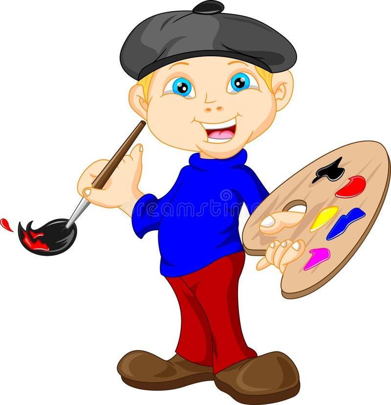 Weinig jongen schildert met penseel royalty-vrije illustratie
