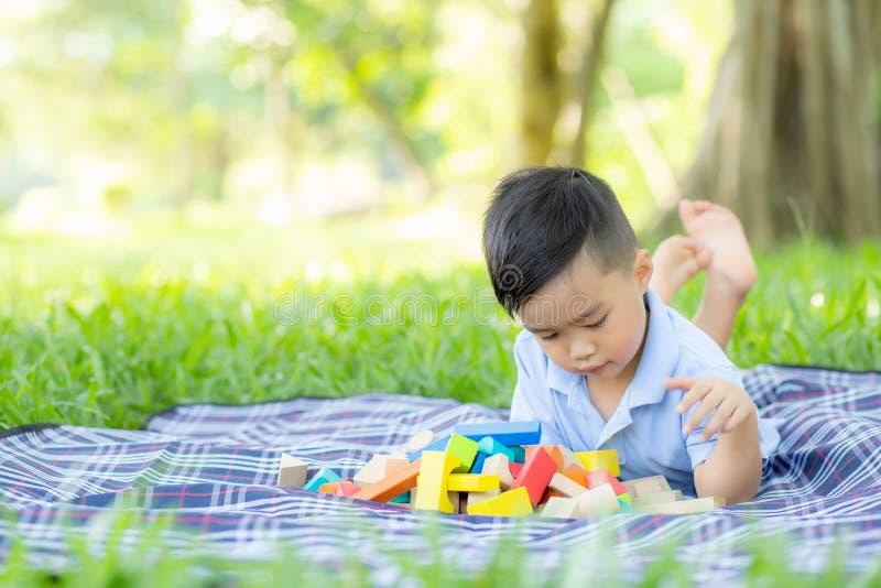 Weinig jongen speelt voor idee en inspiratie met stuk speelgoed blok op het grasgebied, jong geitje lerend met bouwblok royalty-vrije stock fotografie