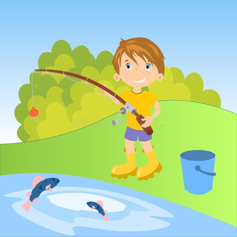 Weinig jongen visserij royalty-vrije illustratie