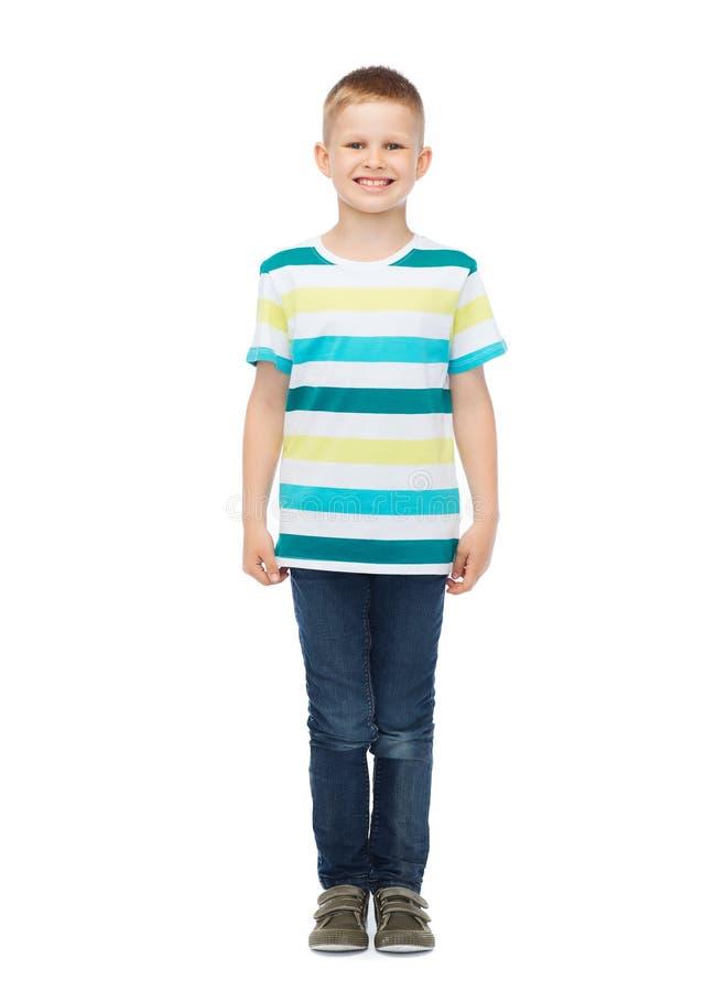 Weinig jongen in vrijetijdskleding stock afbeeldingen