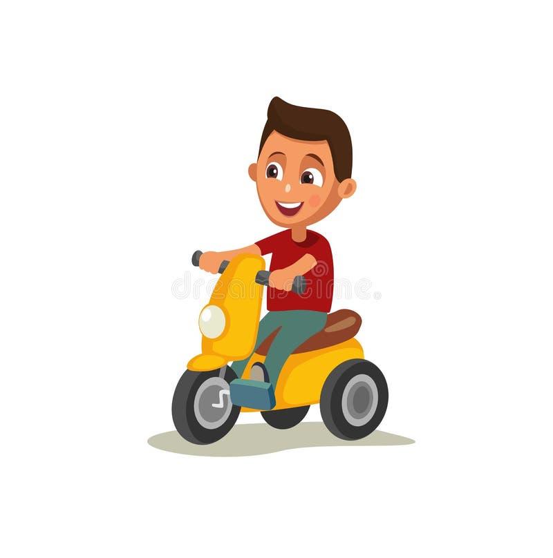 Weinig jongens berijdende driewieler vector illustratie