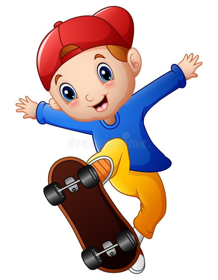 Weinig jongensbeeldverhaal het spelen skateboard stock illustratie