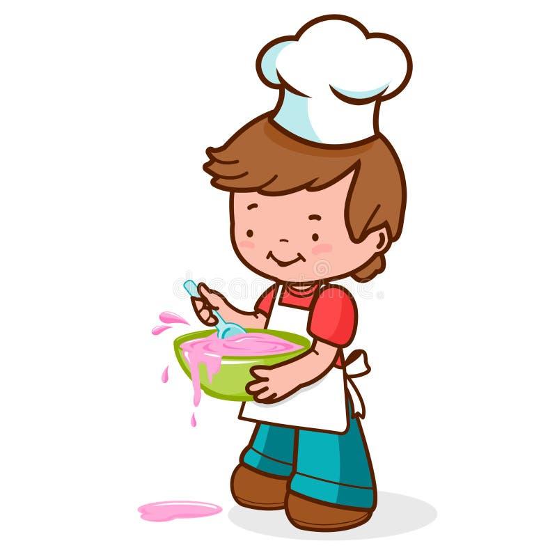 Weinig jongenschef-kok het slordige koken royalty-vrije illustratie
