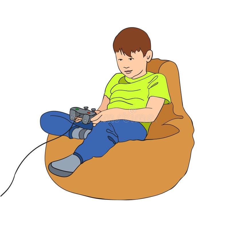Weinig jongenskarakter het spelen videospelletje Jong geitjezitting op een beanbagstoel met bedieningshendelspelbesturing Vectorb royalty-vrije illustratie