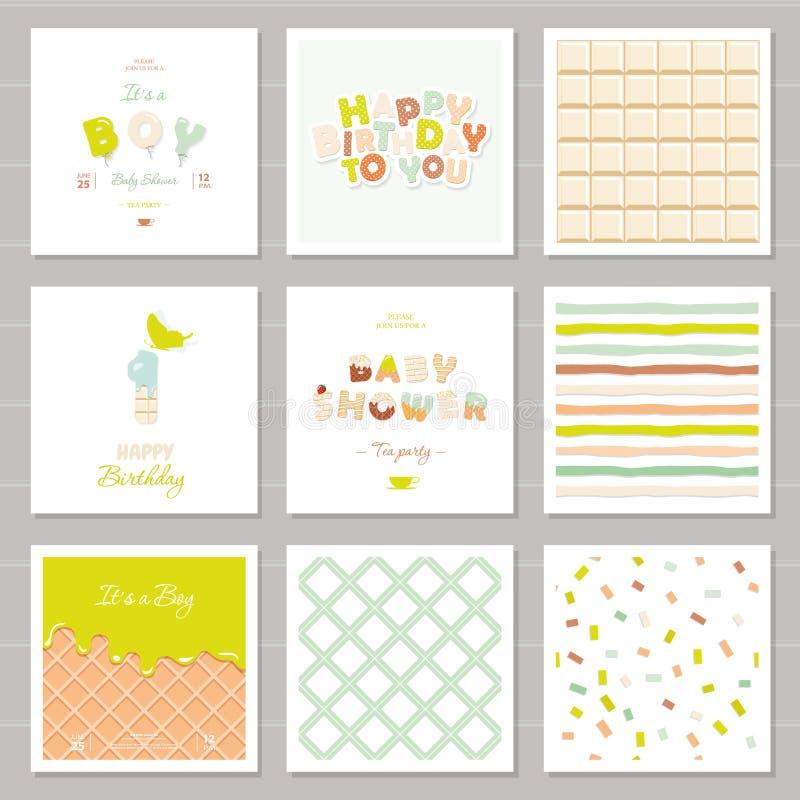 Weinig jongensverjaardag en baby overgieten geplaatste uitnodigingskaarten Één Jaarverjaardag Snoepje en ballonbrieven Leuke fees stock illustratie
