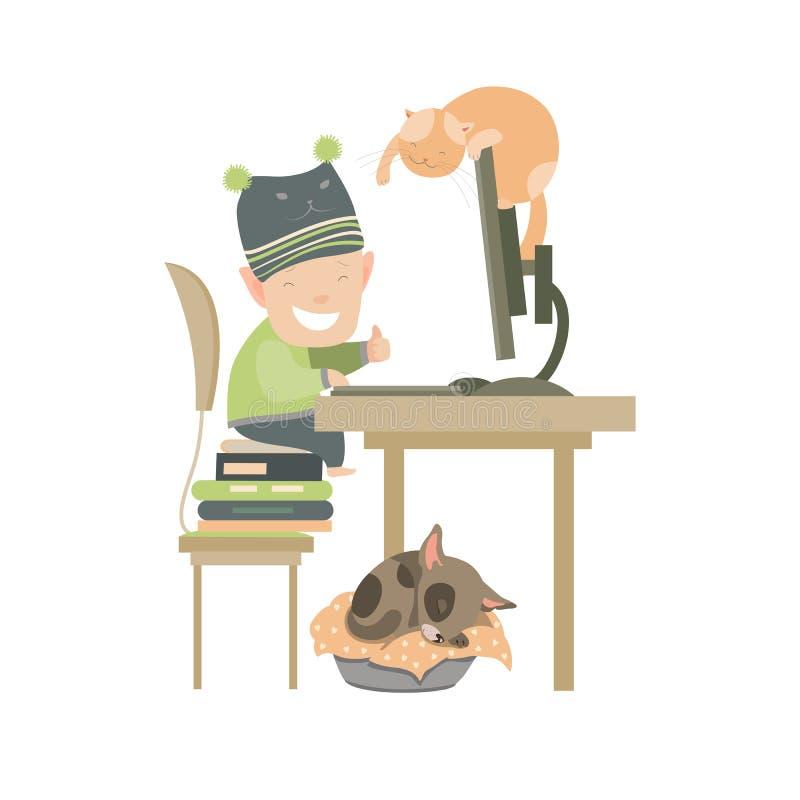 Weinig jongenszitting bij computer stock illustratie