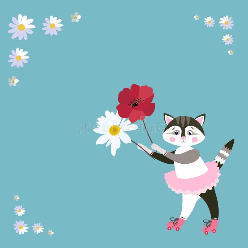 Weinig kat in roze ballettutu op rolschaatsen met papaver en madeliefje in handen Groetkaart, uitnodiging Ruimte voor tekst Vecto royalty-vrije illustratie