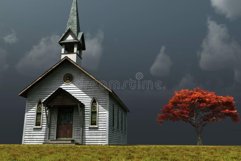 Weinig Kerk op Prarie vector illustratie