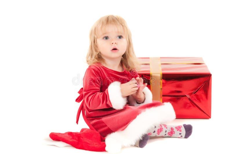 Weinig Kerstmis baby-meisje royalty-vrije stock foto's