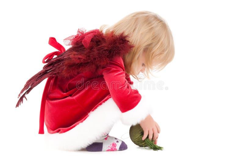 Weinig Kerstmis baby-meisje royalty-vrije stock afbeeldingen