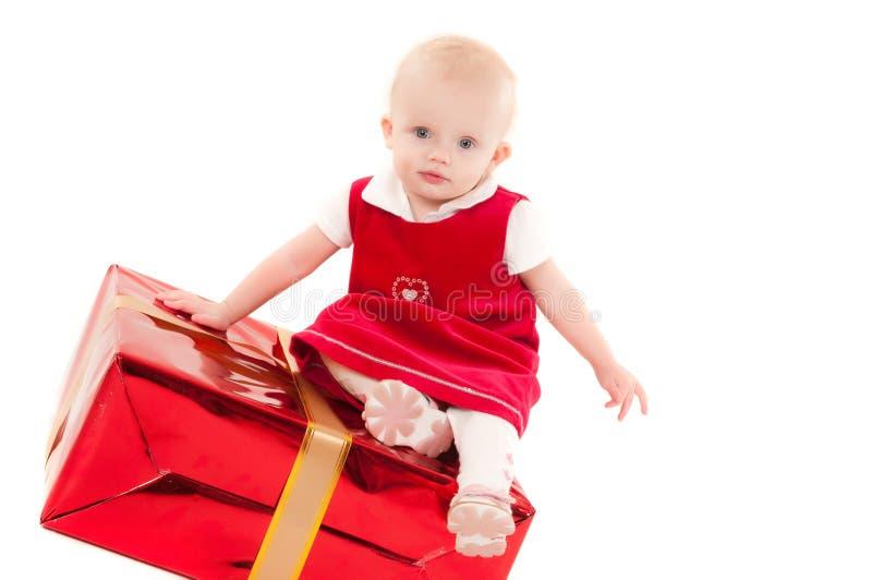 Weinig Kerstmis baby-meisje stock afbeelding