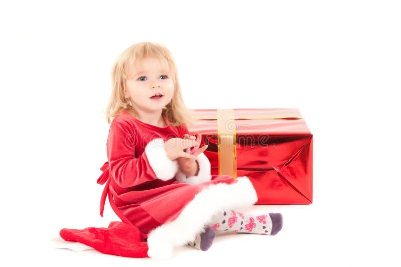 Weinig Kerstmis baby-meisje stock afbeeldingen