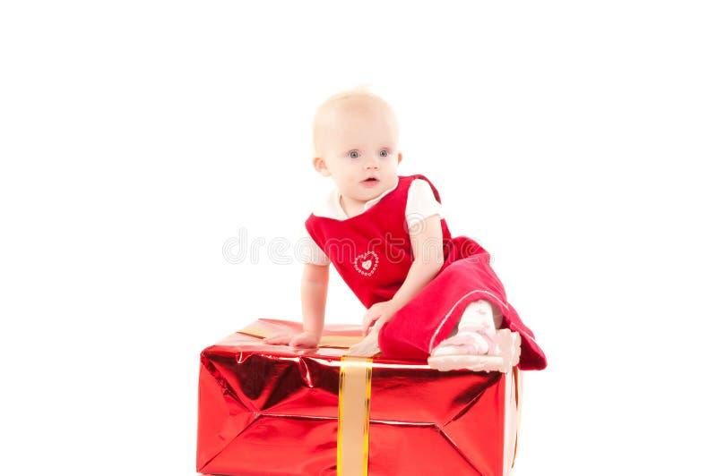 Weinig Kerstmis baby-meisje royalty-vrije stock fotografie