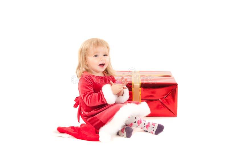 Weinig Kerstmis baby-meisje stock foto's