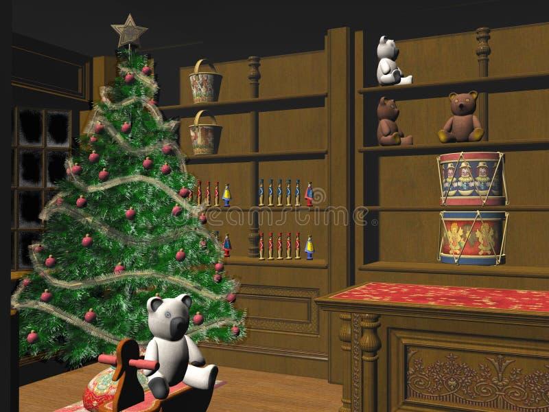 Weinig Kerstmiswinkel. vector illustratie