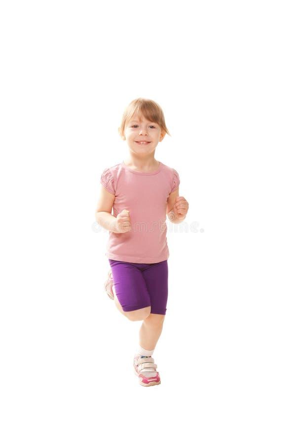 Weinig kind die, het spelen sporten lopen. Gezonde levensstijl royalty-vrije stock afbeelding