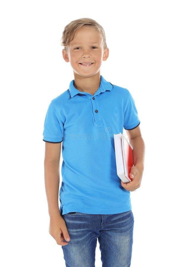 Weinig kind met schoollevering op witte achtergrond royalty-vrije stock foto's