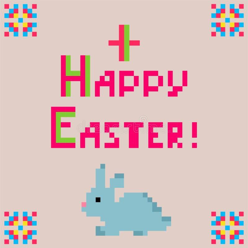 Weinig kinderachtig linnenservet met borduurwerk voor Pasen met grappig konijntje royalty-vrije illustratie