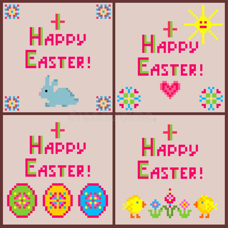 Weinig kinderachtige inzameling van linnenservetten met borduurwerk voor Pasen met kleurrijke eivormen, konijntje, kip, bloemen,  vector illustratie