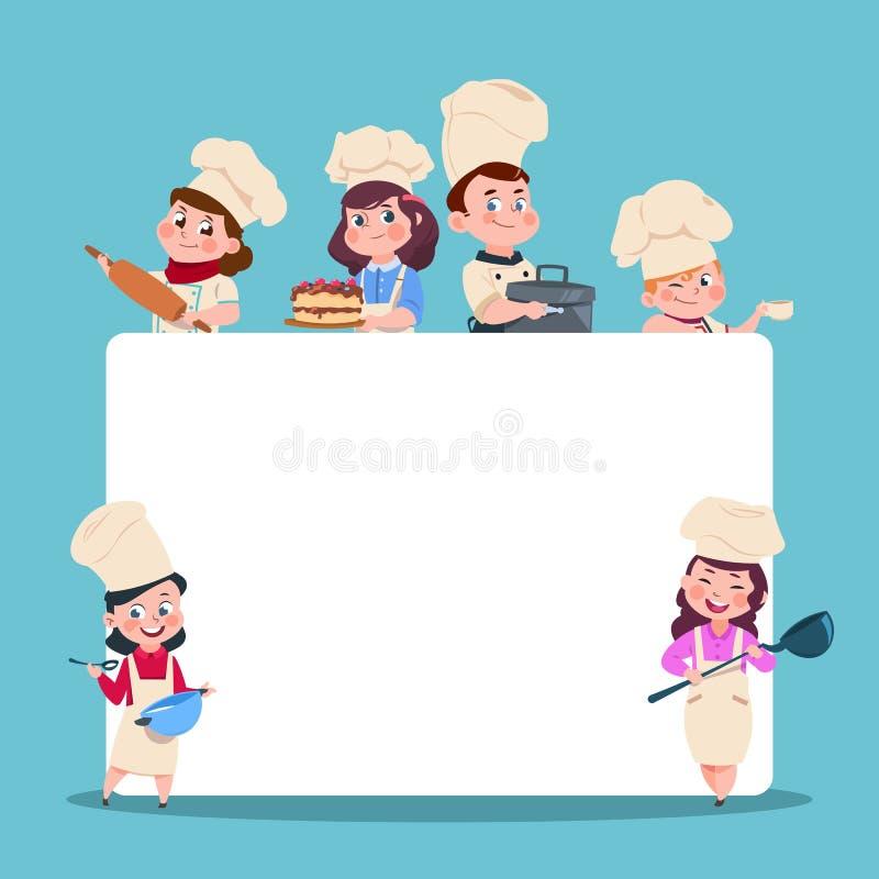 Weinig kookt De chef-kok van beeldverhaalkinderen met grote lege witte banner Het koken de vectorset van tekens van klassenstuden vector illustratie