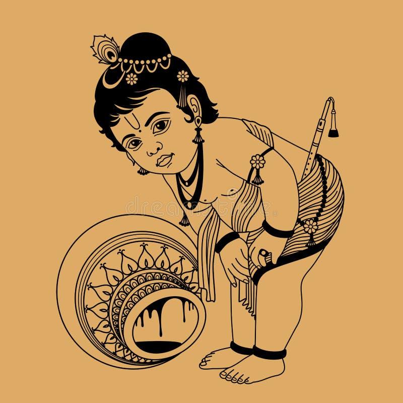 Weinig Krishna vector illustratie