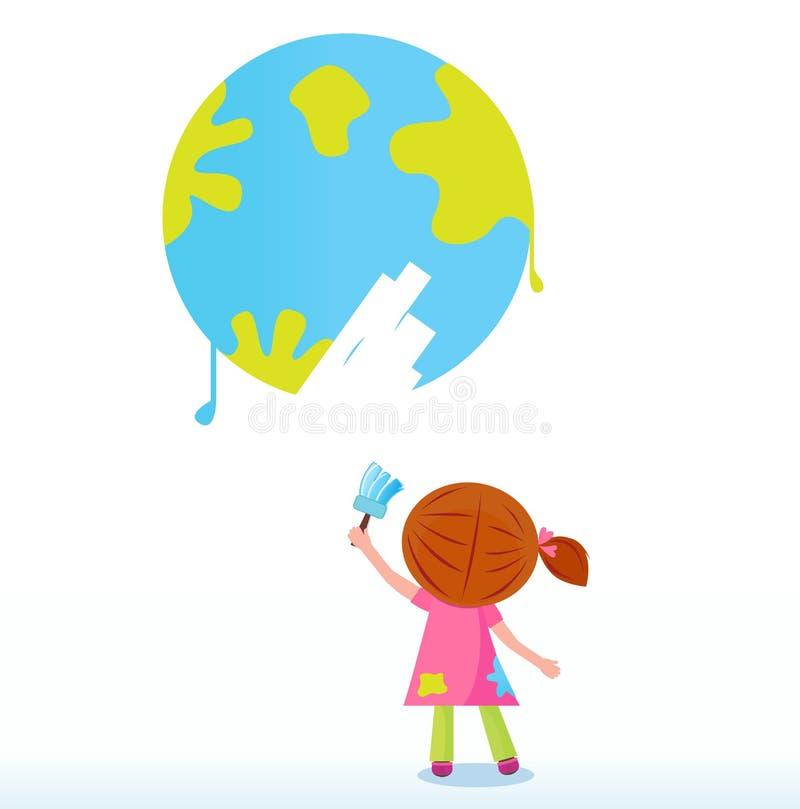 Weinig kunstenaar - kind het schilderen Aarde (planeet) royalty-vrije illustratie