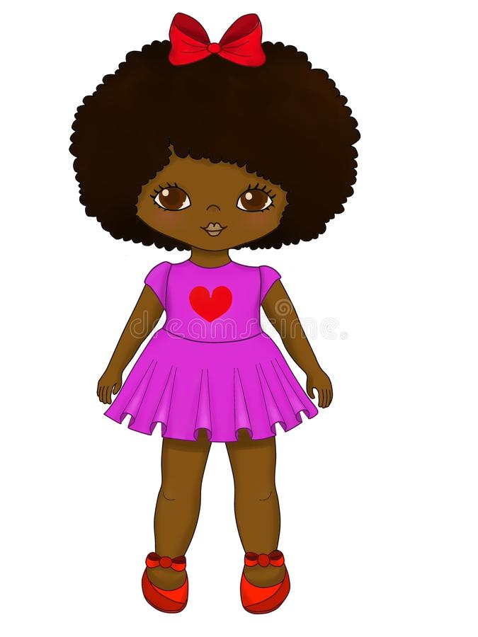 Weinig leuk donker gevild meisje in roze kledingsillustratie stock illustratie