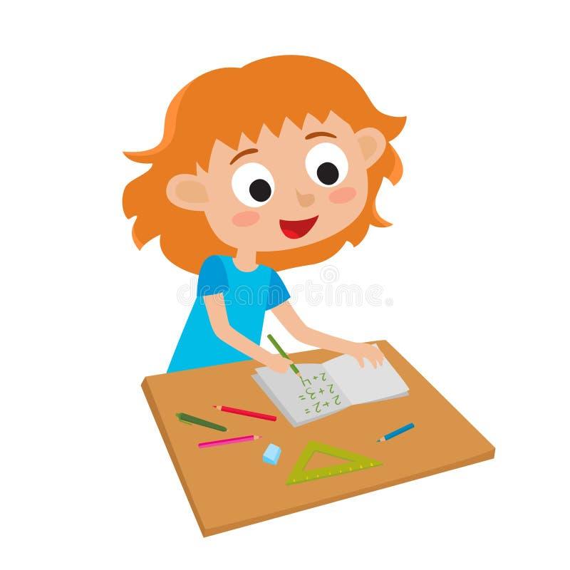 Weinig leuk genie Vectorillustratie van aanbiddelijk gelukkig meisje stock illustratie