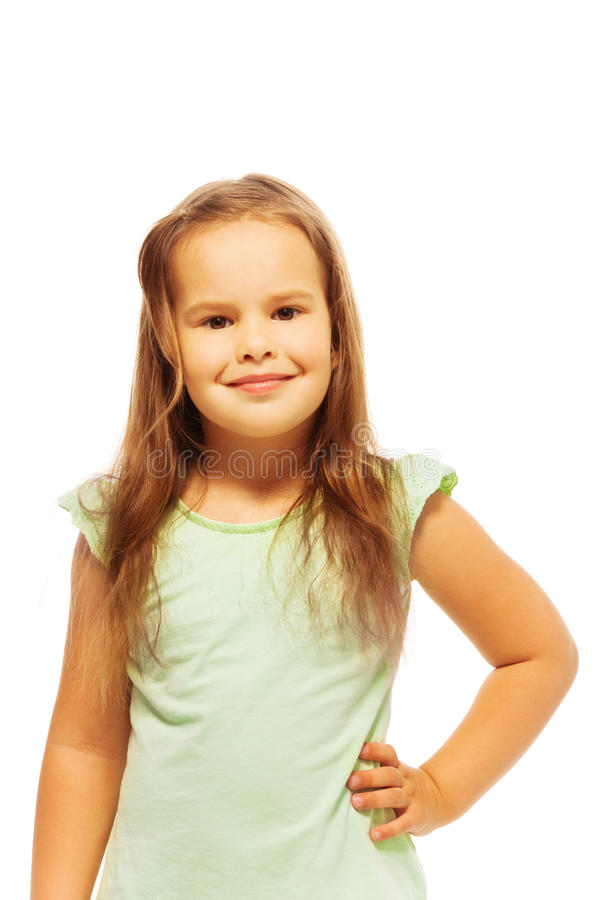 Weinig leuk meisje in groen overhemd stock fotografie
