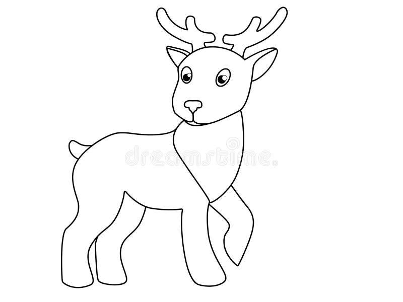 Weinig leuk stuk speelgoed hert Beeld met een hert voor het kleuren royalty-vrije illustratie