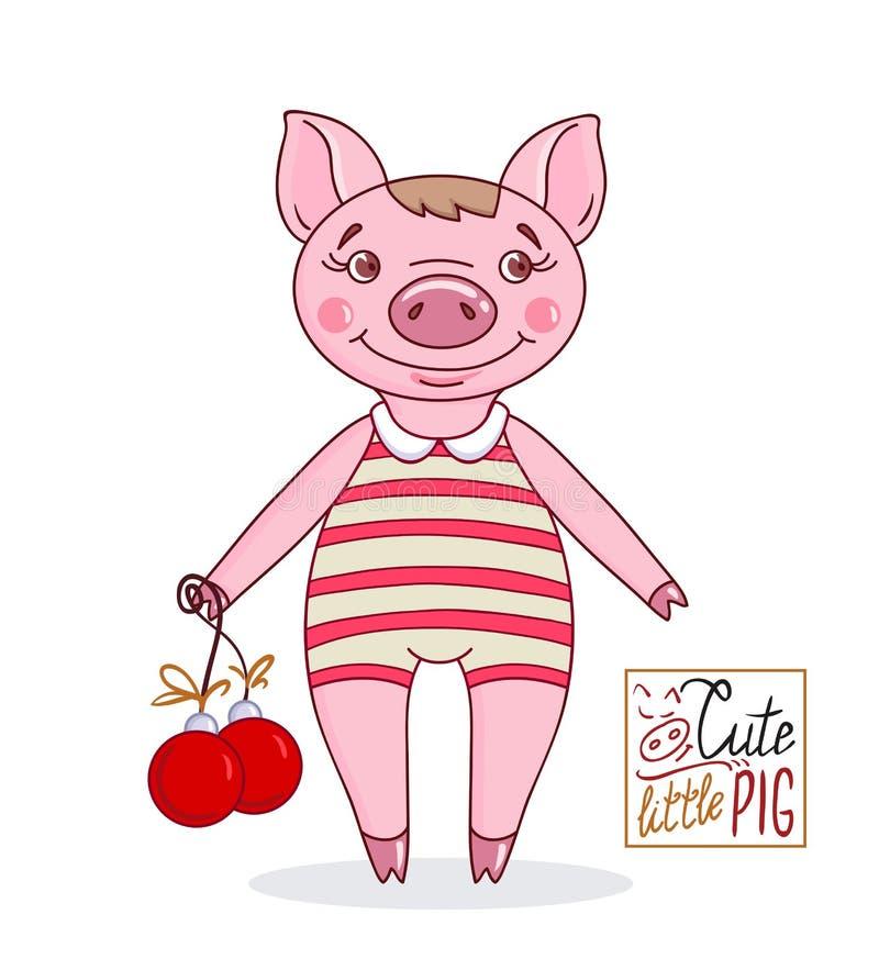 Weinig leuk varken in beeldverhaalstijl in een gestreept badpak royalty-vrije illustratie