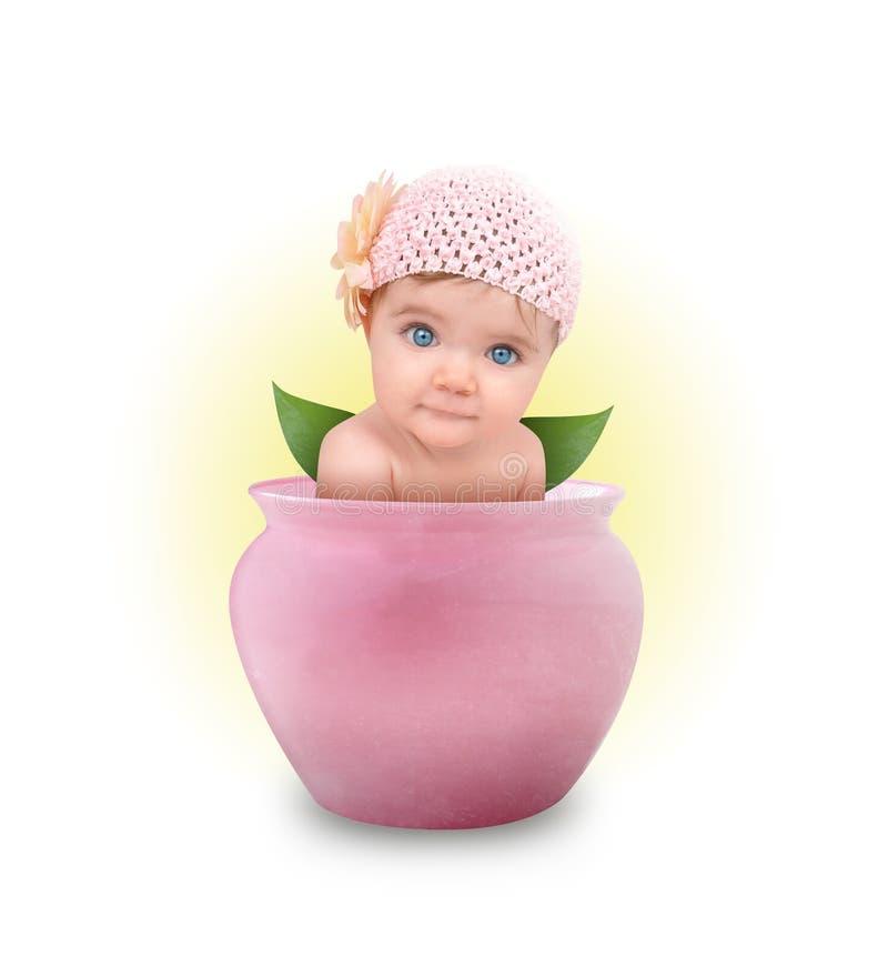 Weinig Leuke Baby in de Roze Pot van de Bloem stock afbeelding