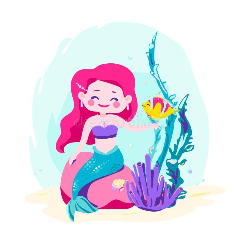 Weinig leuke meerminzitting op een rots Sirene met vissen, koraal, schaaldieren, zeewier Overzees Thema vector illustratie